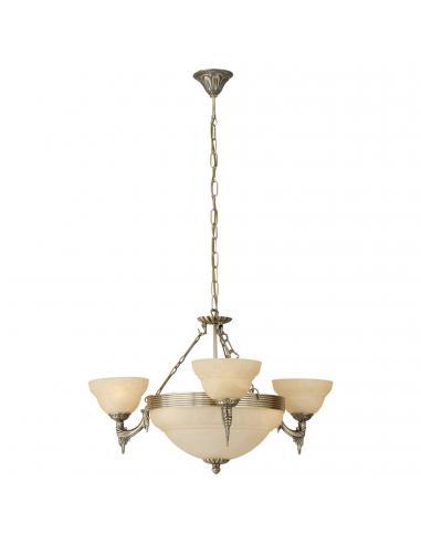EGLO 85857 - MARBELLA Lámpara colgante de Cristal en Fundición de metal bruñido y Vidrio alabastro
