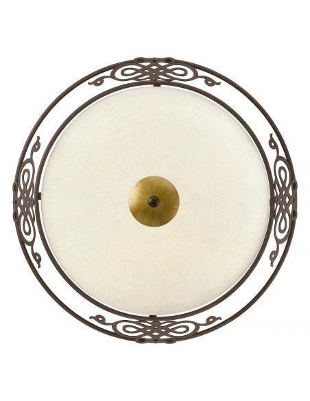 EGLO 86712 - MESTRE Lámpara de Salón en Acero marrón antiguo, oro y Vidrio encalado