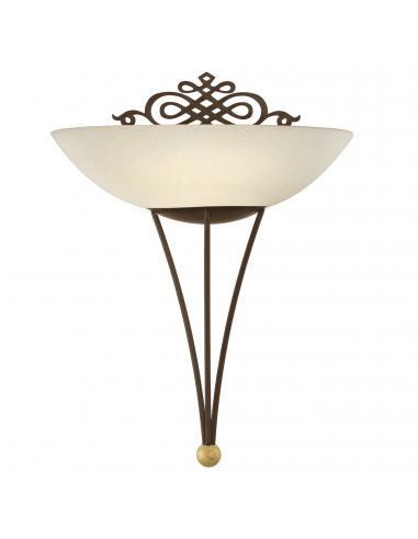 EGLO 86715 - MESTRE Lámpara de Salón en Acero marrón antiguo, oro y Vidrio encalado