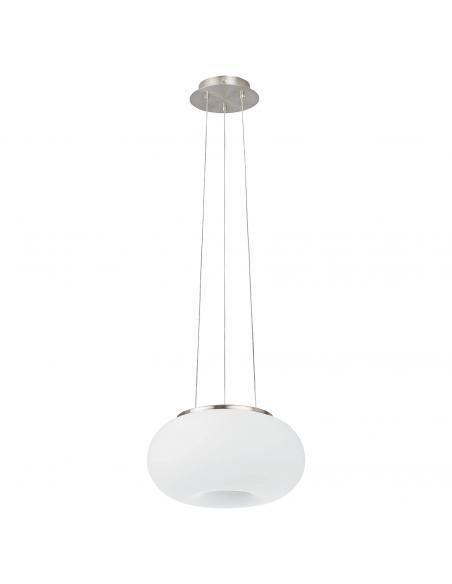 EGLO 86813 - OPTICA Lámpara colgante de Cristal en Acero níquel-mate y Vidrio opalino mate