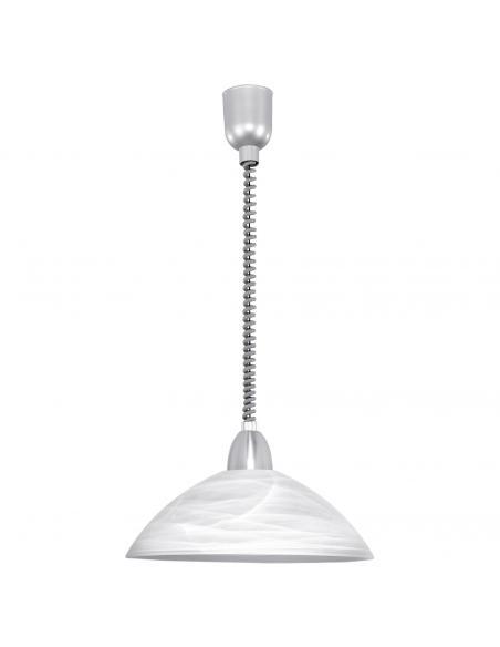 EGLO 87008 - LORD 2 Lámpara colgante de Cristal en Acrílico, acero plata, níquel-mate y Vidrio alabastro