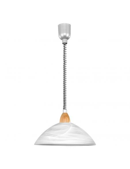 EGLO 87009 - LORD 2 Lámpara colgante de Madera en Acrílico, madera plata, níquel-mate, Haya y Vidrio alabastro