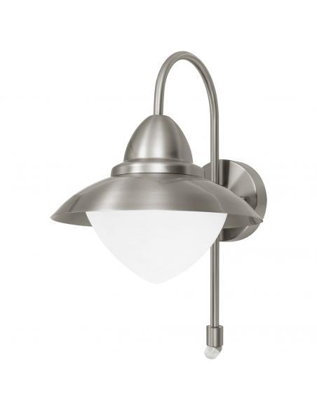 EGLO 87105 - SIDNEY Aplique de exterior con sensor de movimiento en Acero inoxidable acero inoxidable y Vidrio opalino mate