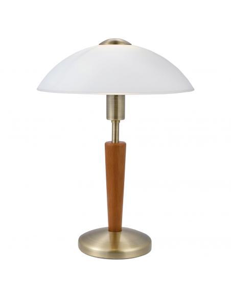 EGLO 87256 - SOLO 1 Lámpara de Salón en Acero, madera bruñido, avellana y Vidrio satinado