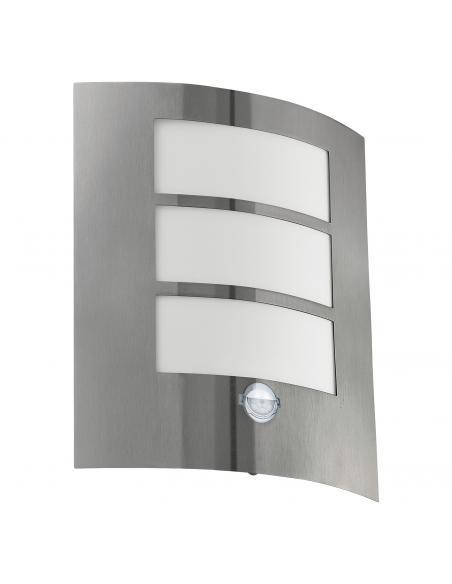 EGLO 88142 - CITY Aplique de exterior con sensor de movimiento en Acero inoxidable acero inoxidable y Acrílico
