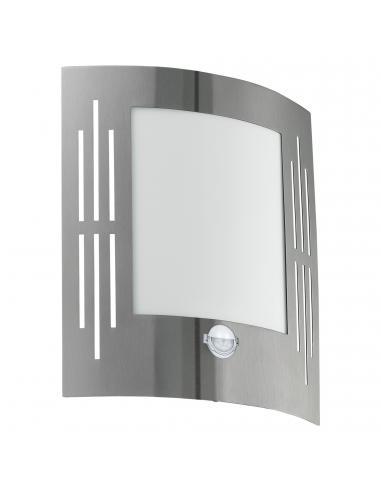 EGLO 88144 - CITY Aplique de exterior con sensor de movimiento en Acero inoxidable acero inoxidable y Acrílico