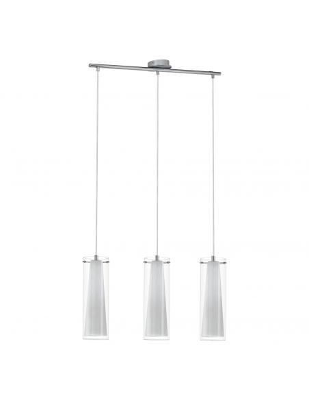 EGLO 89833 - PINTO Lámpara colgante de Cristal en Acero cromo y Vidrio, vidrio opalino mate