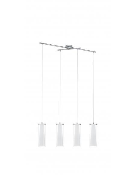 EGLO 89834 - PINTO Lámpara colgante de Cristal en Acero cromo y Vidrio, vidrio opalino mate