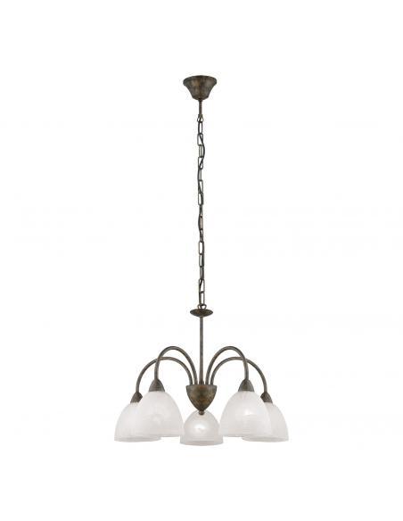 EGLO 89897 - DIONIS Lámpara colgante de Cristal en Acero colores óxido y Vidrio alabastro