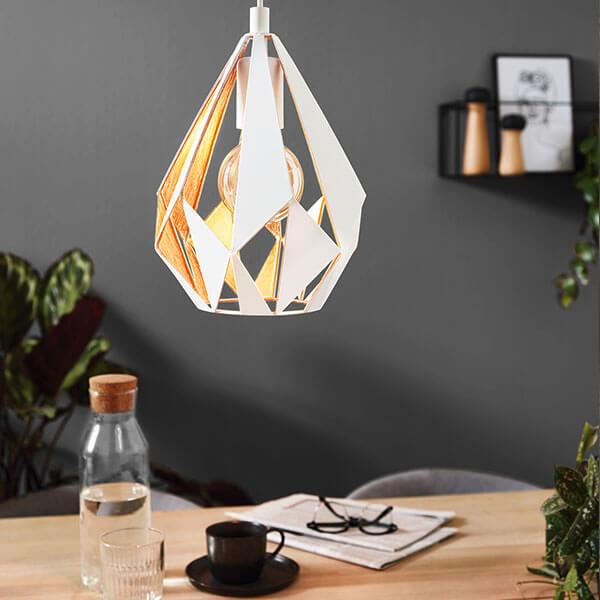 lámpara colgante CARLTON de EGLO en blanco